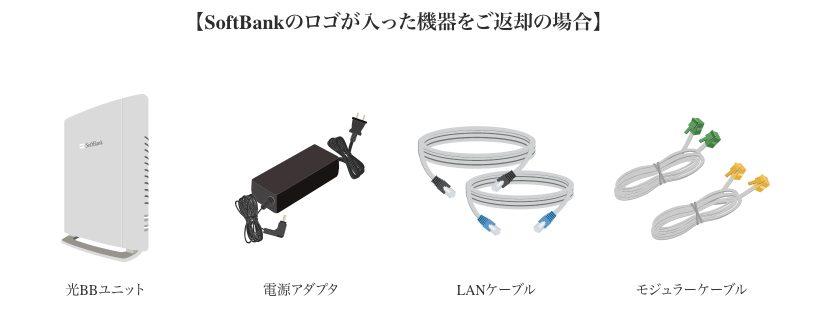 ソフトバンク光 レンタル機器の返却物の例